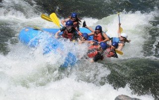 campers rafting on the south fork of the american river and falling out