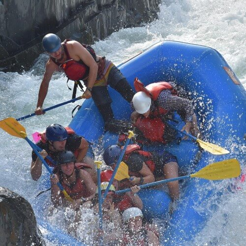 campers rafting on the middle fork of the american river