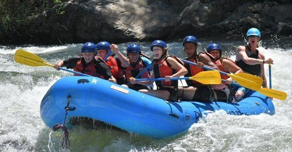 campers rafting on the south fork of the american river - trouble maker