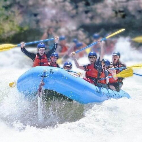 church youth group whitewater rafting in California on the South Fork of the American River