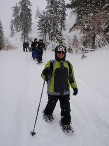 winter camp snowshoeing trip